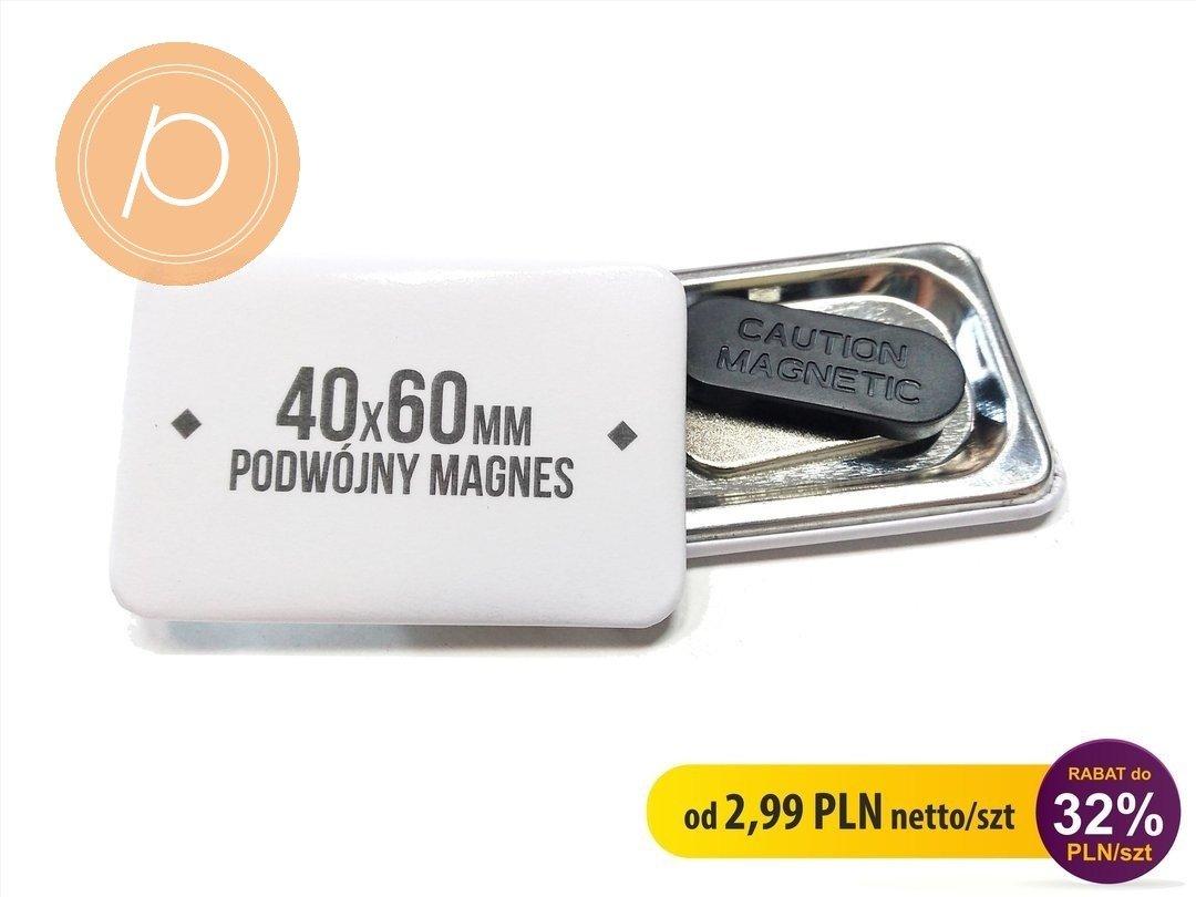 Przypinka prostokątna 40x60mm - zapięcie na podwójny magnes
