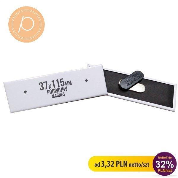 Przypinka prostokątna 37x115mm - zapięcie magnetyczne